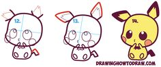 Learn How to Draw Cute / Kawaii / Chibi Pichu from Pokemon in Simple Steps Drawing Lesson for Kids and Beginners