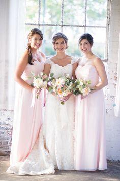 Lovely pink bridesmaids dresses ideas. View the full wedding here: http://thedailywedding.com/2016/07/07/organic-loft-wedding-genevieve-alex/