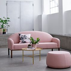 Bloomingville Divine Sofa, Rose Cotton with Smoked Oak Frame