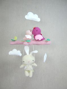 Handcrafted Bird Mobile with Bunny on the Swing by ViolaStudio Baby Crafts, Felt Crafts, Fabric Crafts, Sewing Crafts, Sewing Projects, Bird Mobile, Felt Mobile, Hanging Mobile, Diy For Kids