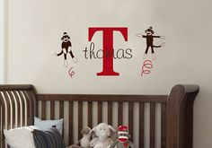 Hey, I found this really awesome Etsy listing at https://www.etsy.com/listing/150574060/sock-monkey-name-personalized-nursery