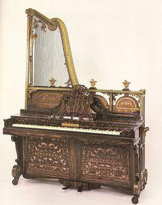 Upright harp-piano