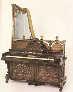 This upright harp piano, a Euphonicon, was made in 1843 in the UK. It didn't last long as an instrument.