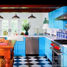 checkered floors & colorful cabinets