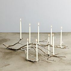 Silver branch candle holder