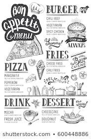 Images, photos et images vectorielles de stock similaires de Restaurant Food Menu Design Chalkboard Background - 196454786 similaires | Shutterstock Cafe Menu Design, Menu Card Design, Food Menu Design, Bakery Logo Design, Menu Restaurant, Bakery Menu, Fast Food Logos, Logo Food, Menu Pizza