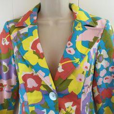 Nanette-Lepore-Blazer-Size-2-S-XS-Pockets-Bright-Colorful-Floral-Jacket-Topper