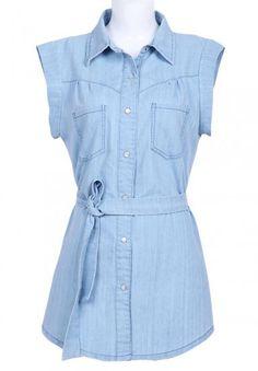 Light Blue Sleeveless Belt Pockets Denim Blouse  #sheinside #clothing#online #denim #womens #shopping #paypal #belt #pockets #$19.59