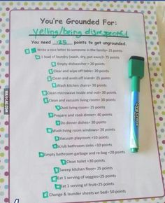Chore chart for getting ungrounded. Parents decide the severity and kids can decide what extra chores/activities they want to do. Be sure to remove the everyday chores. Parenting Done Right, Parenting Advice, Kids And Parenting, Parenting Websites, Peaceful Parenting, Parenting Classes, Single Parenting, Education Positive, Kids Behavior