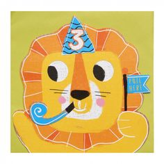 Lion moving 3rd birthday card