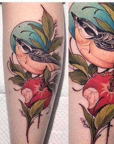 Search inspiration for a New School tattoo. Arm Tattoos Color, Upper Arm Tattoos, Color Tattoo, Grey Tattoo, Tattoo Ink, Tatuajes New School, Tatuagem Old School, Robin Tattoo, Tattoo Coloring Book