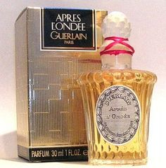 Apres l'Ondee.  Guerlain.  1906.  Jacques Guerlain.  Bergamot, lemon, anise, cassia, neroli, violet, jasmine, mimosa, rose, carnation, ylang-ylang, sandalwood, vetiver, orris root, amber, styrax, vanilla, musk, heliotrope, benzoin.