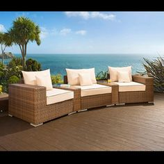 Outdoor garden 3 seater sofa/settee brown rattan/cream cushions 15. Truly stunning in design, this large 3 seater sofa gives a super high-class feel. This set consists of left and right hand end pieces, middle sofa piece, 2 x wedge shape coffee tabke inserts with glass tops and clips to hold them together, 3 x scatter cushions and a heavy-duty cover in green. Call 02476 642139 or email sales@quatropi.com or visit www.quatropi.com for additional information.
