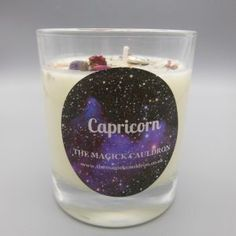 Candle Spells, Jar Candle, Zodiac Candles, Mallow Flower, Purple Glitter, Silver Glitter, Blue Candles, Crystal Shapes, Zodiac Capricorn