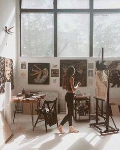 Pin by inge rahmawatie on alone art studios, art, dream art. Art Studio Room, Painting Studio, Studio Studio, Studio Setup, Alone Art, Atelier D Art, Artist Aesthetic, Dream Studio, Dream Art