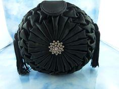 Vintage 80's Carlo Fellini Black Silk & Rhinestone Round Box Purse/Bag from fluffymingo on Ruby Lane
