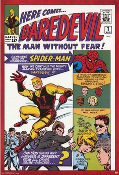 Here comes Daredevil, the Man Without Fear! A great poster of the cover art from Issue #1 of the original Marvel Comics series published in April 1964! Fully licensed. Ships fast. 24x36 inches. Need P