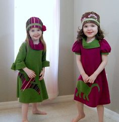 Dinosaur Dresses for GIRLS!  Awesome, yet still not pink!  This is how I shall dress my daughter! :D