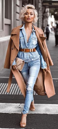 summer outfits Camel Coat + Denim Shirt + Ripped Skinny Jeans