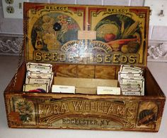 RARE VINTAGE ANTIQUE WILLIAMS ROCHESTER NEW YORK FLOWER AND VEGETABLE SEED BOX | eBay