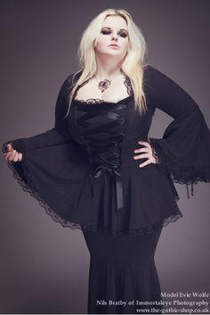 Valerie Corseted Ribbon Black Lace Gothic Blouse