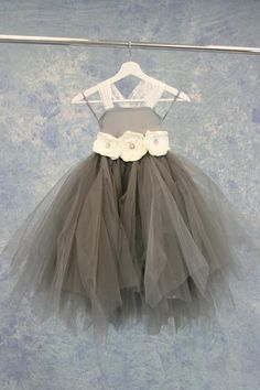 33483111ca7 Poofy Grey and White Flower Girl Child Dress SAMPLE