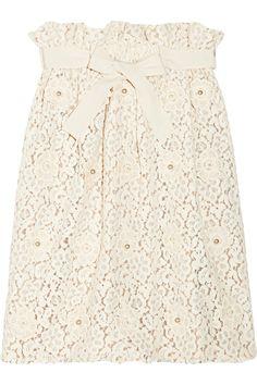 Chloé|Appliquéd cotton-blend lace skirt.