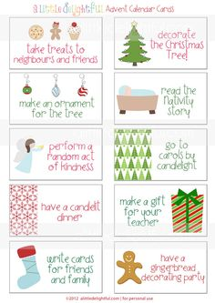 {printable} Advent Calendar Activity Cards