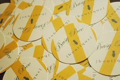 Circle business cards with yellow stripes