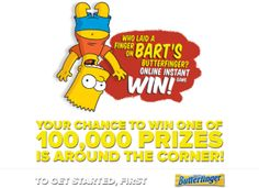 Who Laid a Finger on Bart's Butterfinger Sweepstakes and Instant Win Game