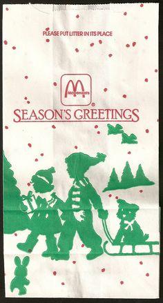 1987 McDonald's Seasons Greetings bag