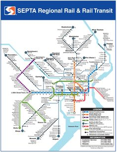 Southeastern Pennsylvania Transportation Authority (SEPTA) Map - servicing Philadelphia and surrounds
