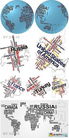 Vector Text world maps and globes