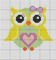 Cross Stitch Owl, Cross Stitch Cards, Cross Stitching, Cross Stitch Embroidery, Cross Stitch Patterns, Baby Afghan Patterns, Owl Crochet Patterns, Owl Patterns, Pixel Crochet