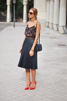 Pleated skirt + tucked-in tank