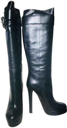 Get the must-have boots of this season! These Gucci Black Boots/Booties Size EU (Approx. Beige Boots, Black High Boots, Thigh High Boots, Heeled Boots, Bootie Boots, Horse Ring, Beautiful Heels, Tassel Loafers, Sexy Boots