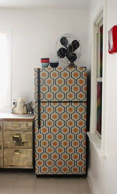 How-To: Wallpaper Your Fridge - great for ugly garage fridges!