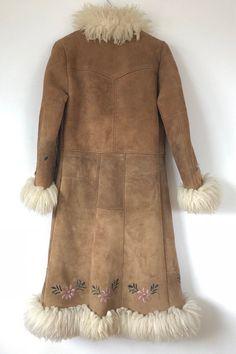 Vintage 1970s Handmade Afghan Embroidered Suede Coat //