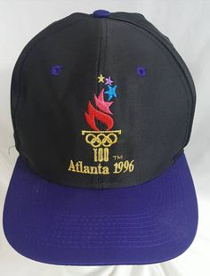7f536b982a Atlanta Summer Olympics 1996 Snapback Hat Black Dome Purple Brim Logo 7  Olympic Games Vintage 90s