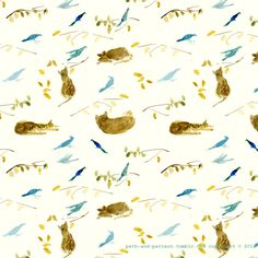 birds and cats watercolor pattern