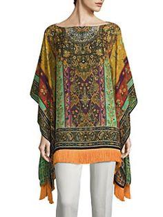 Blouse Styles, Blouse Designs, Kaftan Kurti, Look Boho, Silk Top, Cool Outfits, Kimono Top, Tunic Tops, Printed Silk