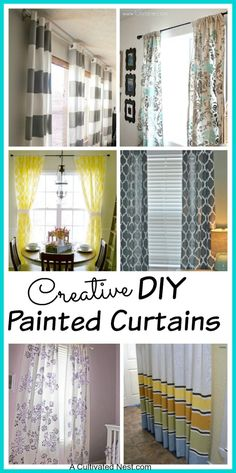DIY painted curtains that you make by painting a pattern or stenciling on solid colored inexpensive curtains. Lots of great ideas!