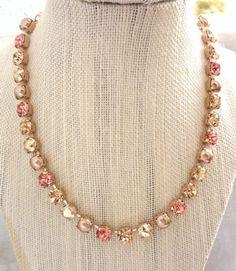 Swarovski crystal necklace 8mm light peach pearl by SiggyJewelry