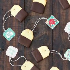 Chocolate Dipped Shortbread Tea Bag Cookies Recipe Afternoon Tea, Desserts with all-purpose flour, unsalted butter, powdered sugar, eggs, vanilla extract, salt, dark chocolate, tea bags
