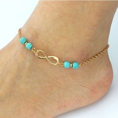 Gold Plated Chain Turquoise Stone Infinity Anklet for Women Fine Jewelry