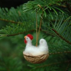 needle felted christmas images | Chicken in a Walnut Needle Felted Christmas by BossysFeltworks