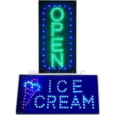 On//Off Switch Open Light Neon Flashing Motion LED Business Ice Cream Shop SIGN