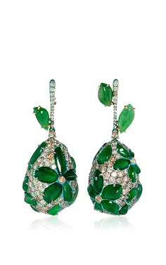 Titanium imperial jade and diamond earrings