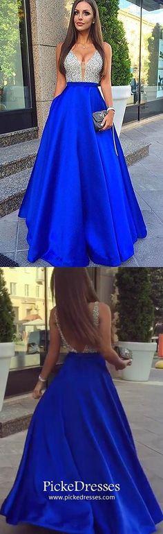 Long Prom Dresses Blue, A Line Formal Dresses For Teens, Backless Military Ball Dresses Satin, V-neck Graduation Dresses with Beading Royal Blue Prom Dresses, Junior Prom Dresses, Formal Dresses For Teens, Backless Prom Dresses, A Line Prom Dresses, Cheap Prom Dresses, Party Dresses, Ball Dresses, Dress Prom