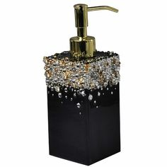 Mike + Ally A signature collection of Mike + Ally workmanship. Cascading Austrian +Czech crystals on a jet black enamel background w/gold accents creates drama in the bathroom sanctuary. Black And Gold Bathroom, Black Bathroom Decor, Gold Bedroom, Teen Bedroom, Bathroom Countertops, Bathroom Accessories Sets, Crackle Glass, Metal Trim, Luxury Bath